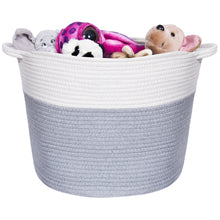Load image into Gallery viewer, Handmade Grey and White Rope Storage Basket