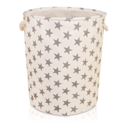 Large Cream with Grey Stars Storage Basket