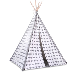 Grey and White Heart Teepee Play Tent