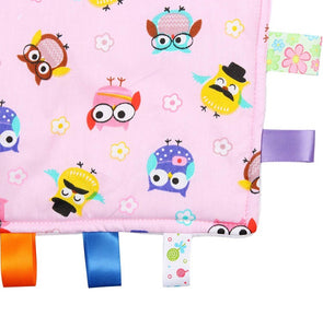 Pink Baby Tag Blanket with Owls