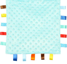 Load image into Gallery viewer, Blue Baby Tag Blanket with Giraffe and Elephants