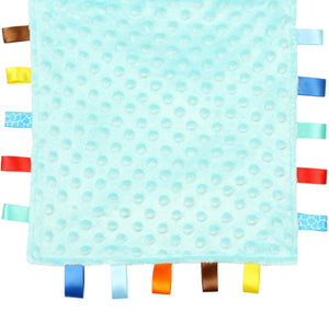Blue Baby Tag Blanket with Giraffe and Elephants