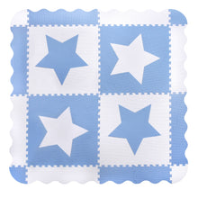 Load image into Gallery viewer, White & Blue Star Interlocking Foam Baby Play Mat