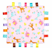 Load image into Gallery viewer, Pink Baby Tag Blanket with Giraffes and Elephants