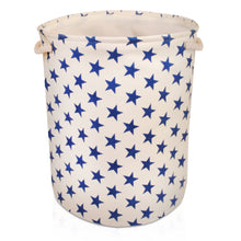 Load image into Gallery viewer, Large Cream with Blue Stars Storage Basket