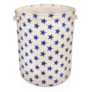 Large Cream with Blue Stars Storage Basket