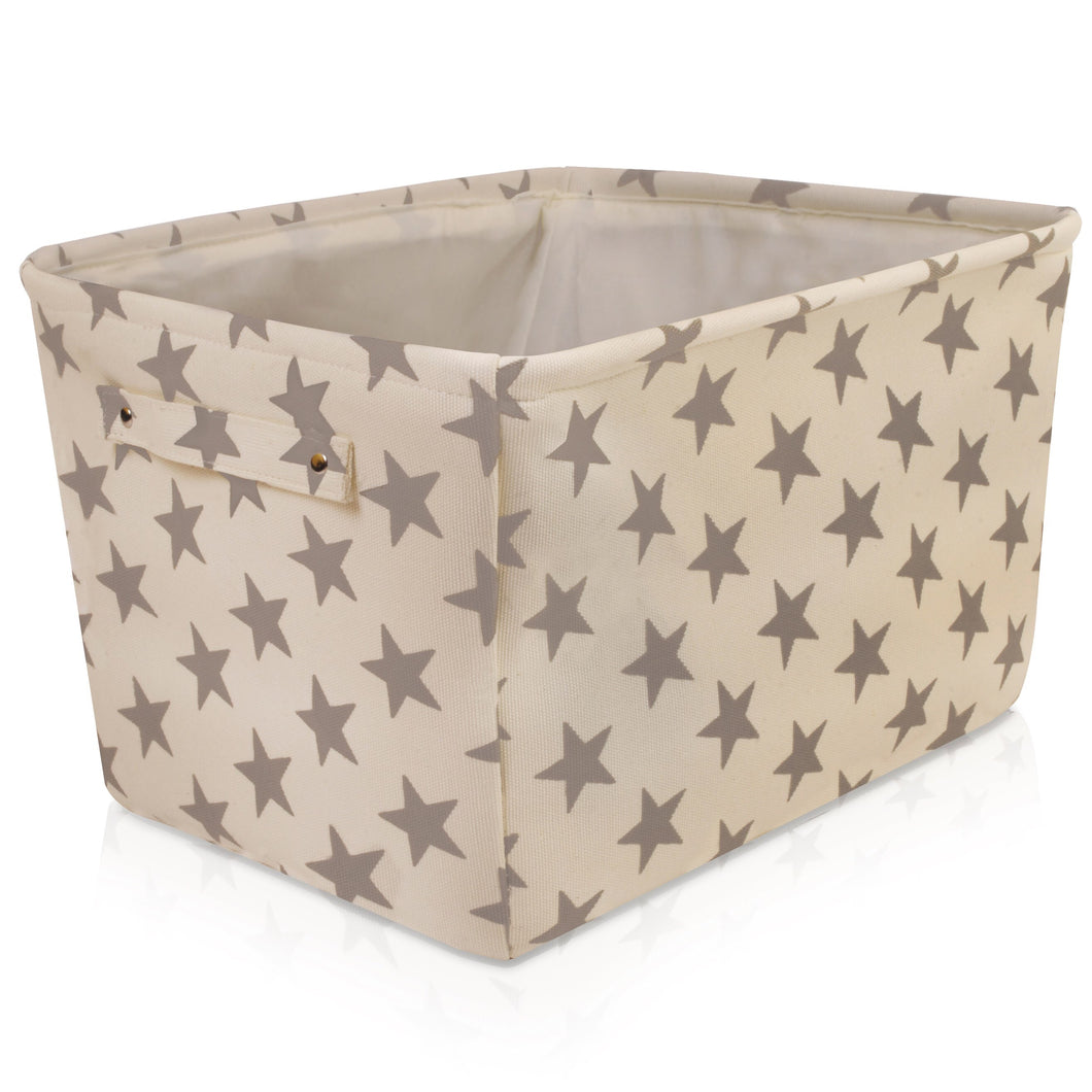 Cream Star Canvas Storage Basket