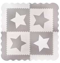 Load image into Gallery viewer, Large Grey Star Interlocking Foam Baby Play Mat
