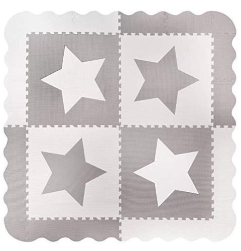 Large Grey Star Interlocking Foam Baby Play Mat