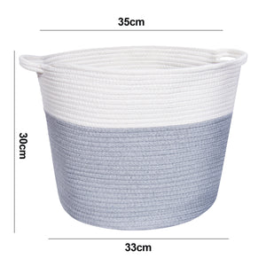 Handmade Grey and White Rope Storage Basket