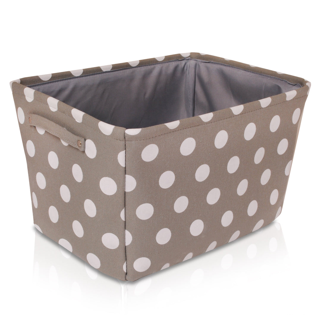 Grey Spot Canvas Storage Basket