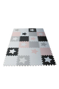 Black and White Star 9 Tile Baby Play Mat