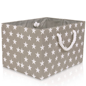 Grey star canvas foldable storage basket