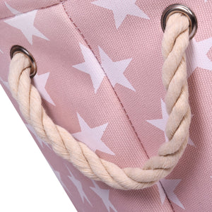 Pink Star Canvas Storage Basket