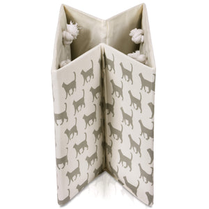 Foldable cream with cat canvas storage basket