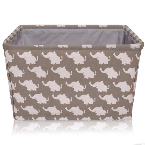 Grey Elephant Canvas Storage Basket