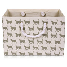 Load image into Gallery viewer, Foldable cream with cat canvas storage basket
