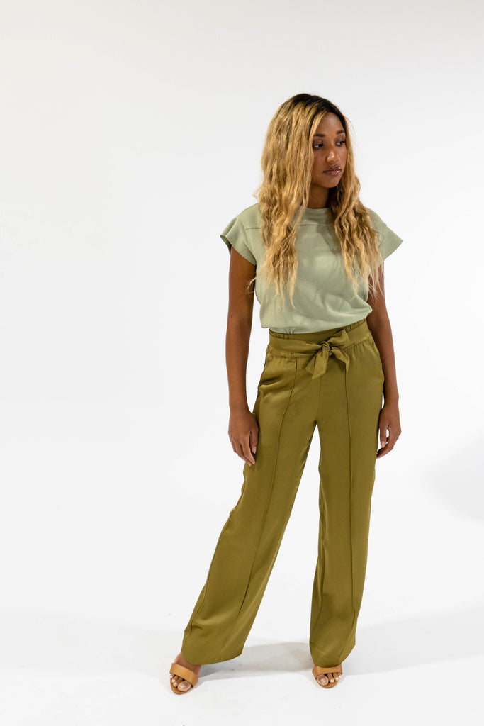 Olive Tie Trouser