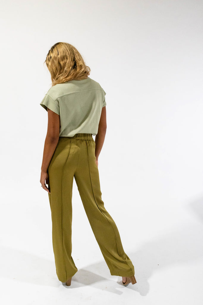 Olive Tie Trouser Back View