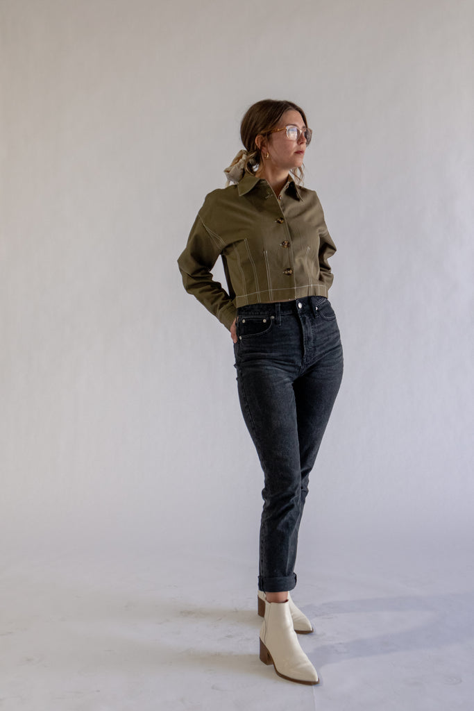 Olive Cropped Shacket