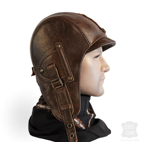 bonnet aviateur cuir marron