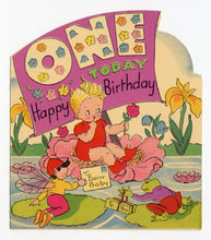 Load image into Gallery viewer, 1940's Children's Birthday Card Set, Almost Full Set, Cartoon Animals, Ages One-Nine