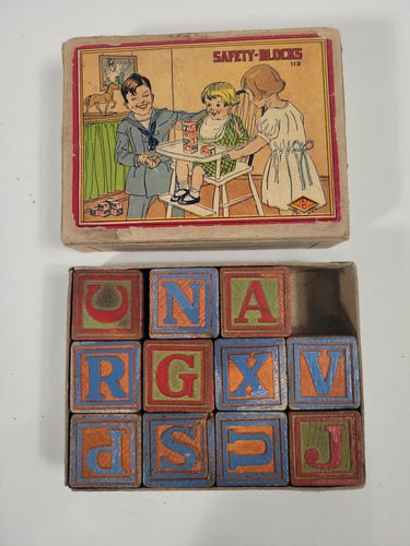 1920's SAFETY-BLOCK Mini Children's Toy Block Set, Hal-Sam, Original Box