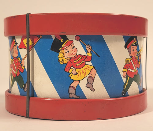 Mid-Century Vintage Children's Tin Drum Set, Musical Toy, Kids' Marching Band