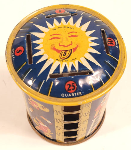 1930's Children's Rotating COIN BANK, Sunburst, Metal Money Savings Tin