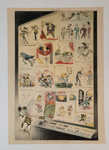 1885 Antique, Original WASP MAGAZINE VALENTINE'S DAY Two Page Satirical Print