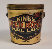 Load image into Gallery viewer, Antique 1920's KING'S RED ROSE LARD TIN, Idaho, Vintage Kitchen, Empty