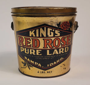 Antique 1920's KING'S RED ROSE LARD TIN, Idaho, Vintage Kitchen, Empty
