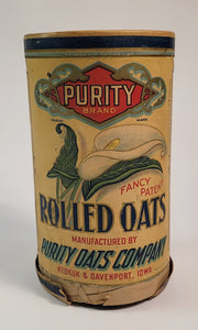 Antique 1910's-1920's ROLLED OATS CANISTER, Purity Brand, Calla Lily