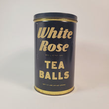Load image into Gallery viewer, Antique 1930's WHITE ROSE TEA BALLS TIN, Vintage Kitchen, Packaging