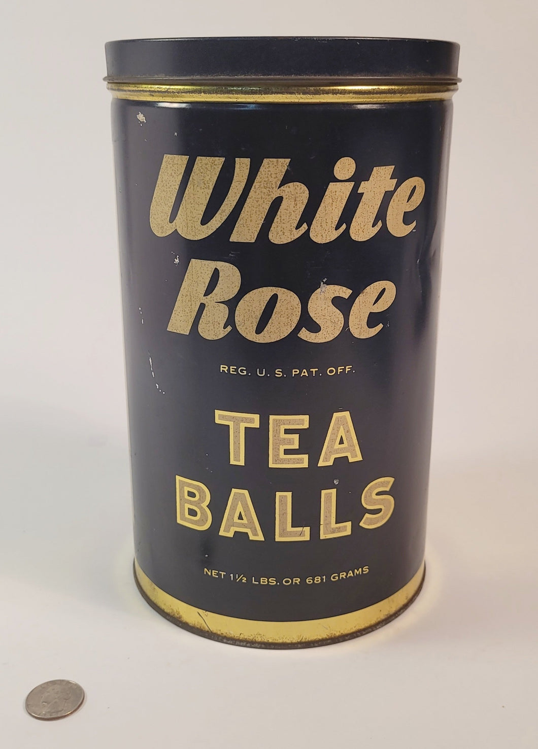 Antique 1930's WHITE ROSE TEA BALLS TIN, Vintage Kitchen, Packaging