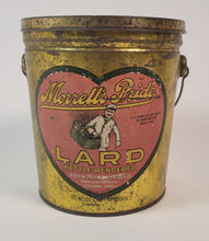 Load image into Gallery viewer, Antique MORRELL'S PRIDE LARD TIN, Heart Graphic, Grocer, Vintage Kitchen