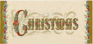 Set of Four Gorgeous Vintage Christmas Cards, PDF ONLY, Illustrated with Gold Ink