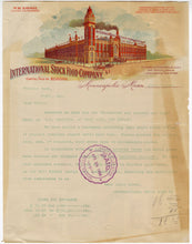 Load image into Gallery viewer, 1905 INTERNATIONAL STOCK FOOD CO. LETTERHEAD, Color Document