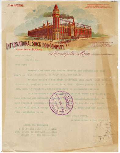 1905 INTERNATIONAL STOCK FOOD CO. LETTERHEAD, Color Document
