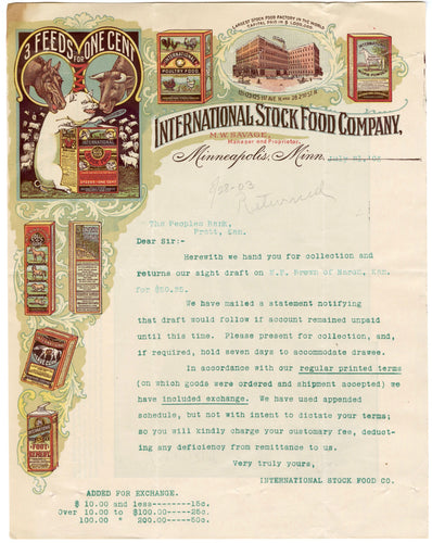 1903 INTERNATIONAL STOCK FOOD CO. LETTERHEAD, Color Document, Animals