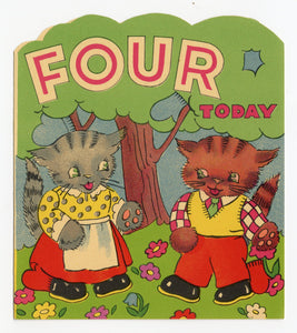 1940's Children's Birthday Card Set, Almost Full Set, Cartoon Animals, Ages One-Nine