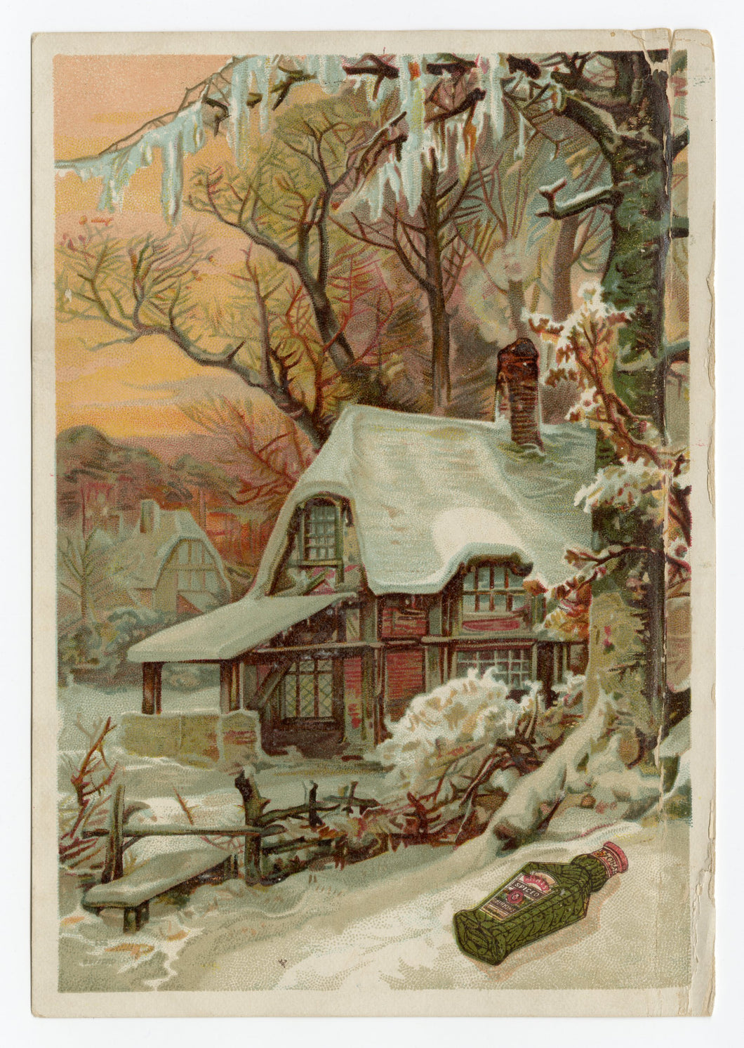 Antique Victorian Heinz's Extra Cider Vinegar Trade Card || Cottage in Snow