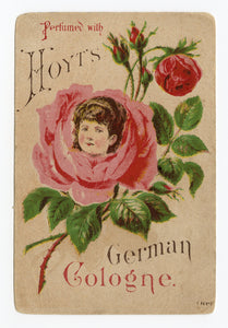 Victorian Hoyt's German Cologne Trade Card || Woman's Face inside Rose