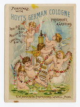 Load image into Gallery viewer, Victorian Hoyt's German Cologne Trade Card || Cherubs and Fountain