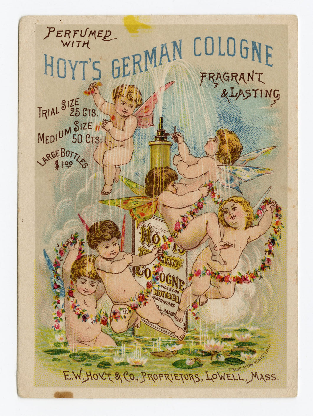 Victorian Hoyt's German Cologne Trade Card || Cherubs and Fountain