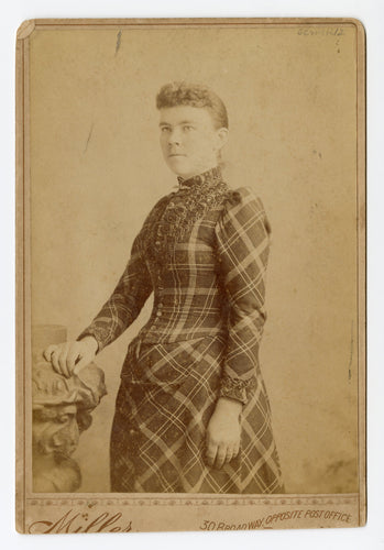Victorian Cabinet Card, Young Woman in Plaid Dress || Birmingham, Connecticut