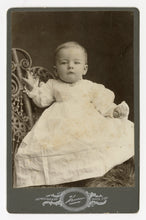 Load image into Gallery viewer, Victorian Cabinet Card, Small Baby in White Gown || Ogden, Utah