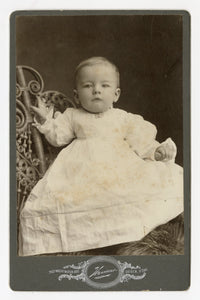 Victorian Cabinet Card, Small Baby in White Gown || Ogden, Utah