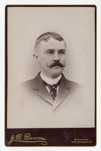 Victorian Cabinet Card, Man with Curly Mustache || Pittsburg, PA