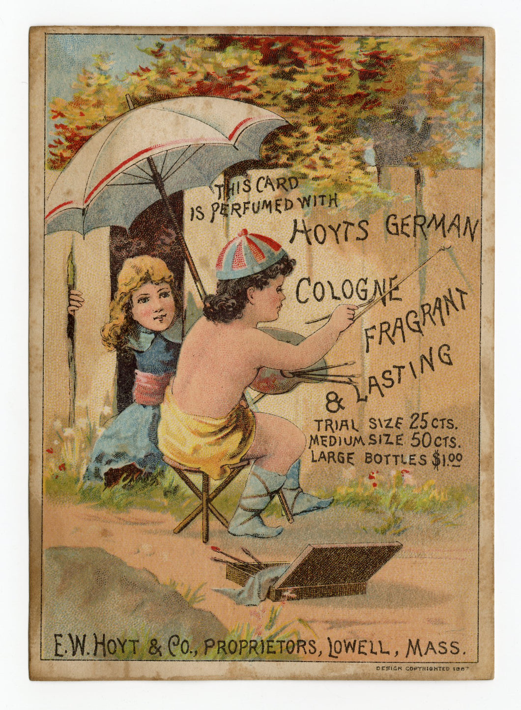Victorian Hoyt's German Cologne, Perfume Trade Card || Children Painting